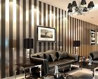 Vinyl Wallpaper Wood Fiber Non Woven Vertical Stripe Modern 3D Bedroom Roll New