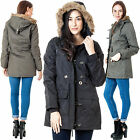 Womens Fur Trim Hooded Style Ladies New Polyster Padded Parka Winter Jacket Coat