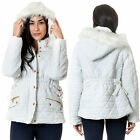 Womens New Hooded Elasticated Waist Detail Padded Ladies Long Sleeve Jacket Coat