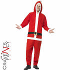 Adult Santa Onesie Costume Father Christmas Fancy Dress Outfit Xmas Mens Ladies
