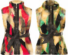 Womens Lined Fur Sleeveless Belt Zip Gillet Pocket Vest Jacket Ladies Waistcoat