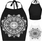 Womens Celebrity Mandala Tribal Cricle Print Halterneck Tie Ladies Crop Top