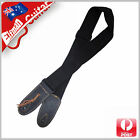 Guitar Strap Cotton Webbing Genuine Leather Head Acoustic Electric Bass Black
