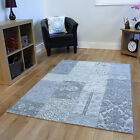 New Thin Light Blue Damask Modern Rugs Thin Flateave Cotton Patchwork Lounge Rug