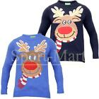 mens Christmas Reindeer Crew Neck Knitted Jumper Top X-Mas Pullover Sweater Size