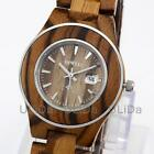 3ATM BEWELL Sandalwood Zebra Wood Metal Ring Dial Calendar Women Quartz Watches image