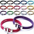 New Fashion Men Women Leather Wrap Wristband Cuff Alloy Buckle Bracelet Bangle