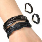 Hot Men's Vintage Leather Wristband Hemp Braid Bracelet Bangle Cuff Wrap Surfer