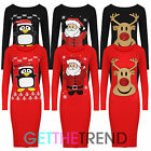 NEW WOMENS NOVELTY CHRISTMAS PENGUIN RUDOLPH GLITTER PRINT XMAS BODYCON DRESS