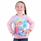 Girls Christmas Xmas Jumper Sweater - Disney Frozen Elsa Anna Olaf Characters