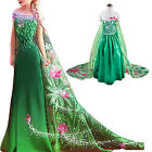 frozen fever - Kids Girls Frozen Fever Green Princess Elsa Party Wedding Cosplay Costume Dress