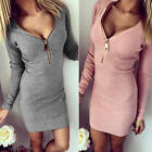 Sexy Women V Neck Zip Long Sleeve Bodycon Fashion Pullover Slim Mini Shirt Dress