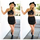 Women Black Brown Faux Leather Suede Tank Tops Sexy Lace Up Camis Slim Crop