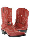 women's red cowboy boots ladies leather western dance biker rodeo cowgirl new