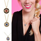 Fashion Women's Evil Eye Gold Pltaed Crystal Pendant Choker Long Chain Necklace