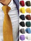 Men Skinny Solid Color Knitted Slim Wedding Party Flat Tie Narrow Necktie Cheap