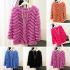 Girl Real Knitted Rabbit Fur Jacket Coat Sweater Outwear Warm Winter Candy Color