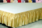 19MM SEAMLESS 100% SILK ELASTIC RUFFLED BED SKIRT DUST RUFFLE FULL QUEEN KING