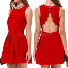 Womens Summer Sexy Red Backless Pleated Mini Dress Cocktail Evening Party Dress