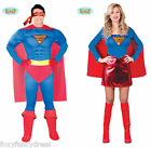 Adult Super Hero Superman Superwoman Comic Fancy Dress Superhero Men Women