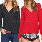 New Sexy Women's Loose Chiffon V-Neck Tops Long Sleeve Shirt Casual Blouse S-XXL