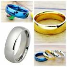 6mm Stainless Steel Ring Men/Womens Wedding Band Silver Gold Blue Ring Size 5-14