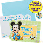 MICKEY OR MINNIE MOUSE 1ST BIRTHDAY PARTY SUPPLIES 8 THANK YOU CARDS & STICKERS
