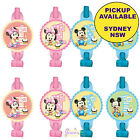 MICKEY OR MINNIE MOUSE 1ST BIRTHDAY PARTY SUPPLIES 8 BLOWERS BLOWOUTS FAVOURS