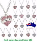 Charm Family Gifts Crystal Love Heart Pendant Rhinestone Necklace Jewelry Bff