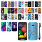 For Motorola Moto E 1st Gen 2014 PATTERN HARD Protector Back Case Cover + Pen