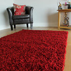 SMALL X LARGE SIZE THICK SOFT RED WINE SHAGGY RUGS NON SHED 5cm PILE MODERN RUGS