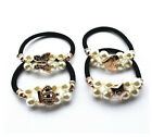 new rubber band hair accessories diy double pearl diamond hair ring 4pcs