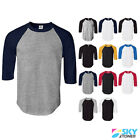 New Raglan 3/4 Sleeve Baseball Mens Plain Tee Jersey Team Sports T-Shirt S-3XL image