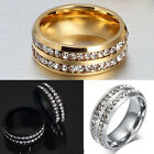 Men Women's Unisex CZ Stainless Steel Gold Silver Ring Wedding Band Rings Sz6-12
