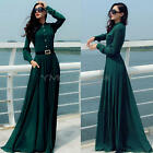 New Women's Lady Slim Kaftan Abaya Long Sleeve Vintage Chiffon Party Maxi Dress