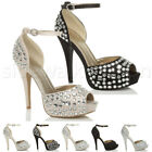 WOMENS LADIES HIGH HEEL DIAMANTE WEDDING BRIDAL PROM PEEP TOE SHOES SANDALS SIZE