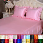 19 Momme 100% Pure Silk Ruffled Fitted & Flat Sheet Set Pillowcase Size Twin XL