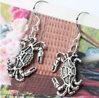 1Pair 12.7x36mm Crab Crawling Animal Earrings Silver Hook Alloy Chandelier E180