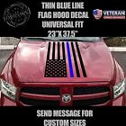 thin blue line US flag hood decal police cops fits: Dodge Ram Chevy Ford Toyota