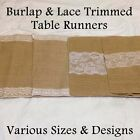 "Burlap & Lace Trimmed Table Runner - 14"" Width (Premium Quality)"