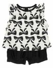 NWT Crazy 8 Girls Bow top bloomer Black & White size 2- 2T 2pc set outfit new