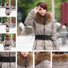 Women Slim Hooded Long Outerwear Parka Puffer Coat Jacket With Belt 5 Colors