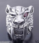 925 STERLING SILVER RED GARNET TIGER  BIKER RING  US sz 10