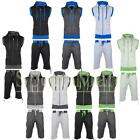 mens Contrast Cord Sleeveless Hooded Top / Shorts Suit Fleece Zip Tracksuit Size