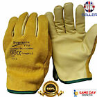 5 PAIRS OF FLEECE LINED LEATHER LORRY DRIVERS WORK GLOVES SAFETY DIY QUALITY