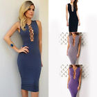 Sexy Women Slim Lace Up Tie Sleeveless Party Bodycon Evening Bandage Midi Dress