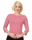 Banned 50s Rockabilly Boat Neck Sailor White Red Stripe Retro Top 3/4 Sleeve