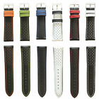 Racing Italian Leather Colour Contrast Perforated Sports Watch Strap 18,20,22mm