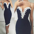 S-XL Womens Navy Bodycon Strappy V Neck Floral Lace Evening Party Short Dress US