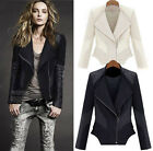 Girl women Splice Slim PU Leather Jacket Coat Zipper Moto Biker Tencel Cotton